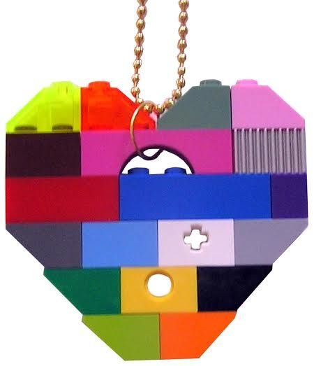 "​Collectible heart pendant (Single thickness) Model 1 - made from LEGO® bricks on a 24"" Gold plated ballchain - COLORFUL"