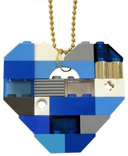 """Collectible heart pendant (Single thickness) Model 4 - made from LEGO® bricks on a 24"""" Gold plated ballchain - NAVY"""