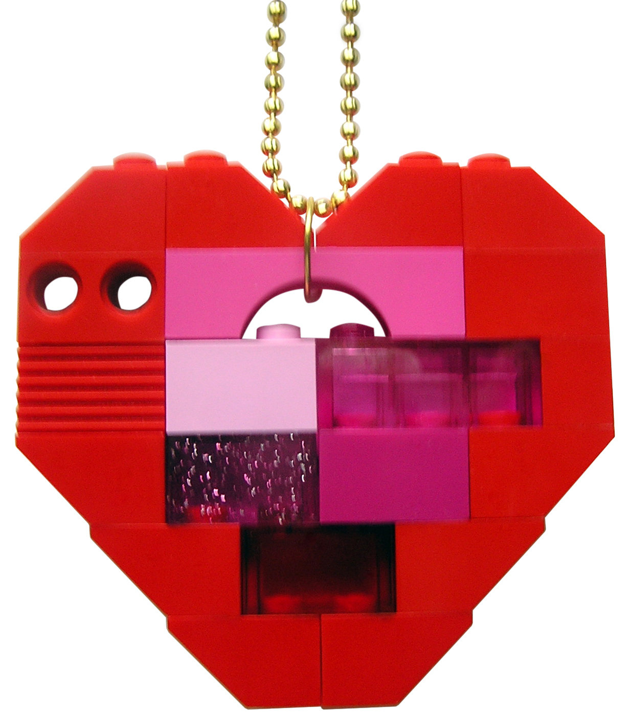 """Collectible heart pendant (Single thickness) Model 5 - made from LEGO® bricks on a 24"""" Gold plated ballchain"""