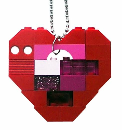 """Collectible heart pendant (Single thickness) Model 5 - made from LEGO® bricks on a 24"""" Silver plated ballchain"""