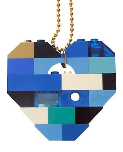 "Collectible heart pendant (Single thickness) Model 6 - made from LEGO® bricks on a 24"" Gold plated ballchain - NAVY"