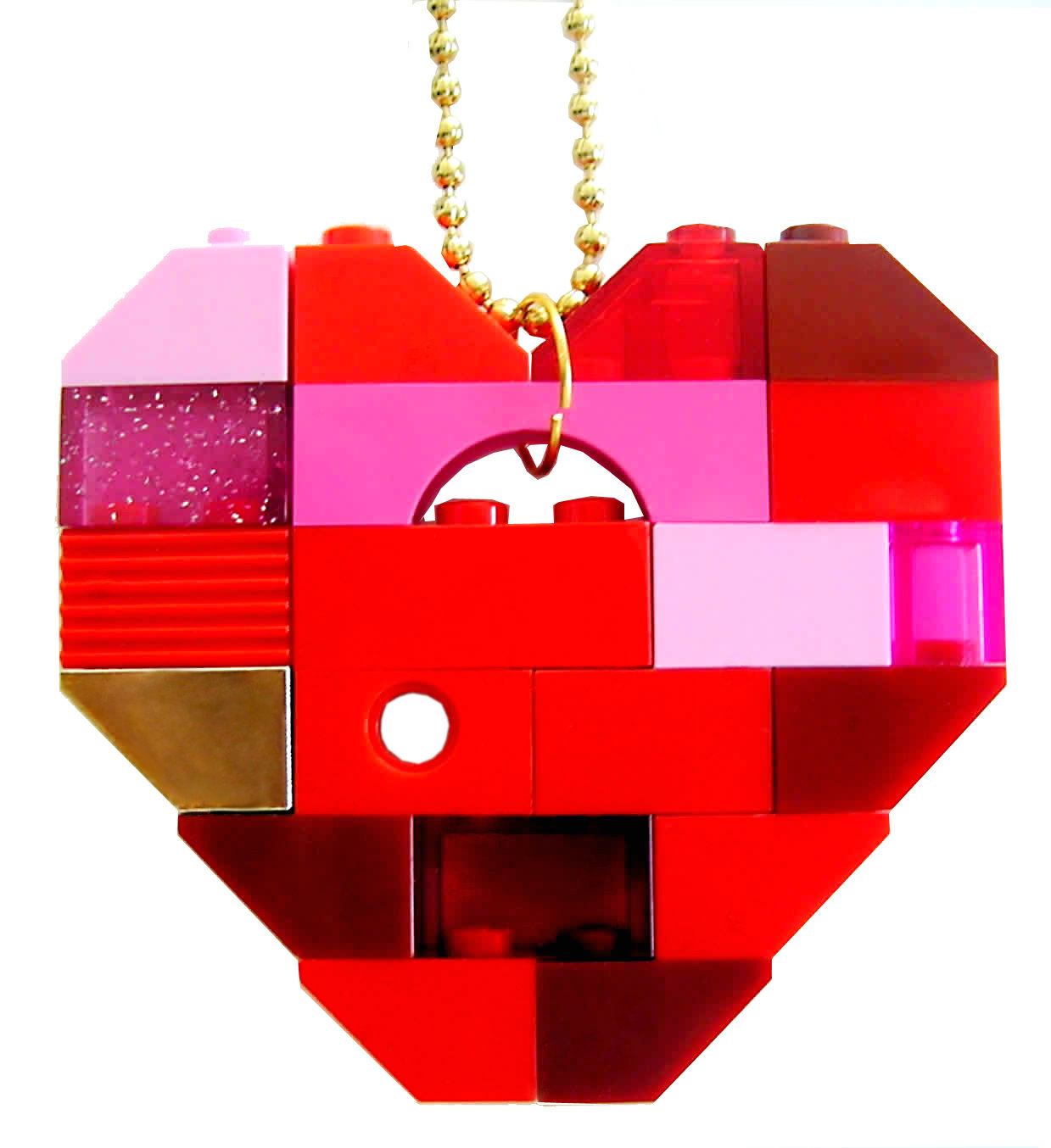 """Collectible heart pendant (Single thickness) Model 7 - made from LEGO® bricks on a 24"""" Gold plated ballchain"""