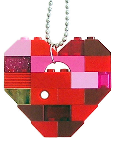"​Collectible heart pendant (Single thickness) Model 7 - made from LEGO® bricks on a 24"" Silver plated ballchain"