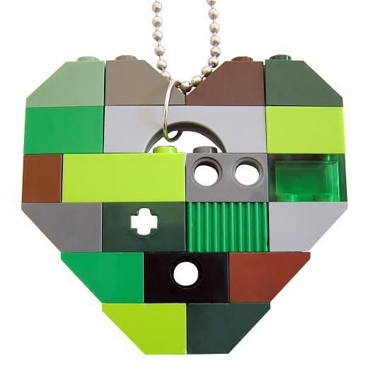 """Collectible heart pendant (Single thickness) Model 8 - made from LEGO® bricks on a 24"""" Silver plated ballchain - CAMOUFLAGE"""