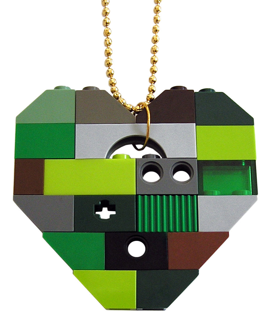 "​Collectible heart pendant (Single thickness) Model 8 - made from LEGO® bricks on a 24"" Gold plated ballchain - CAMOUFLAGE"
