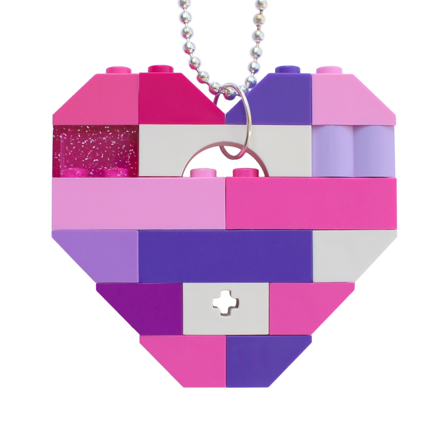"""Collectible heart pendant (Single thickness) Model 10 - made from LEGO® bricks on a 24"""" Silver plated ballchain - KAWAII PINK & PURPLE"""