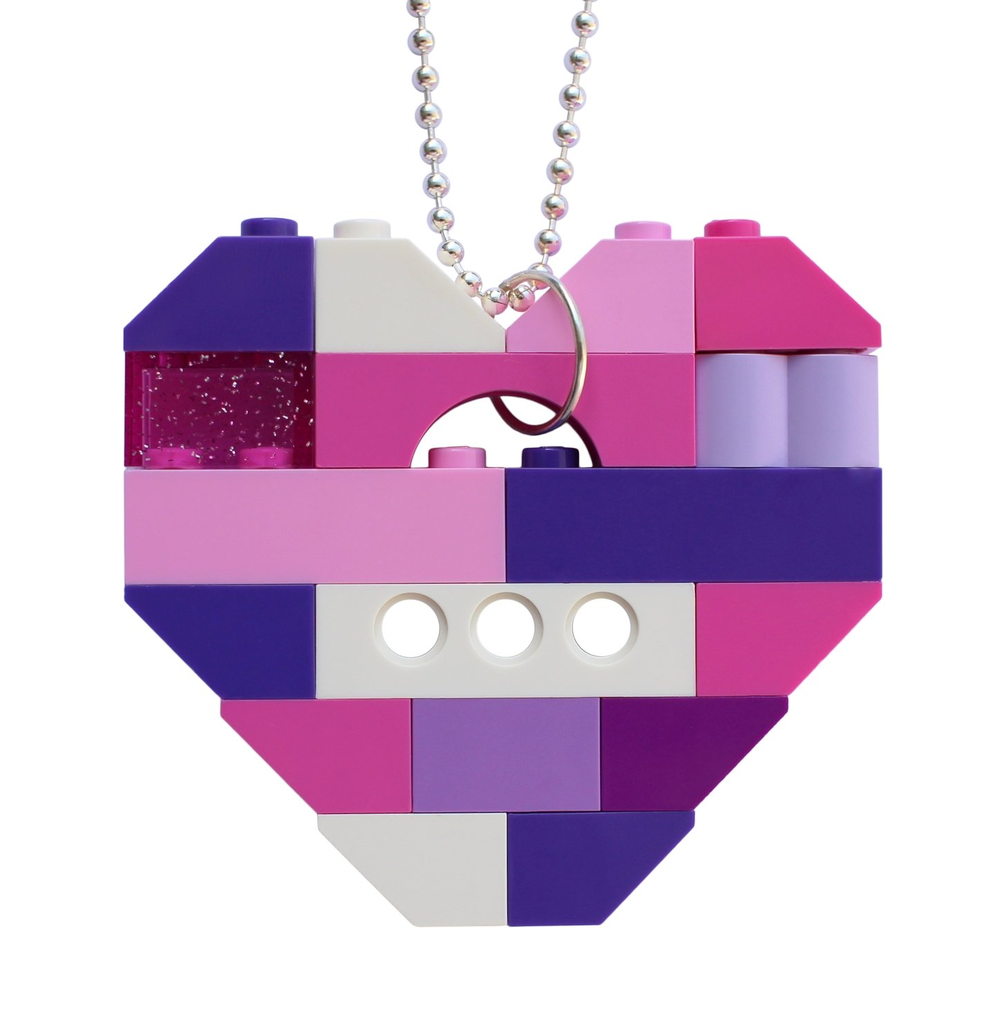 """Collectible heart pendant (Single thickness) Model 12 - made from LEGO® bricks on a 24"""" Silver plated ballchain - KAWAII PINK & PURPLE"""