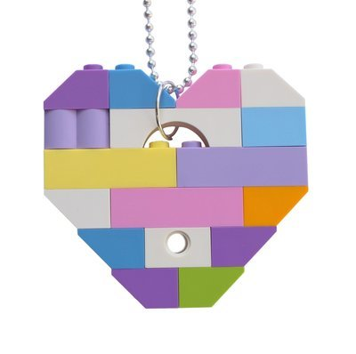 Collectible heart pendant (Single thickness) Model 11 - made from LEGO® bricks on a 24