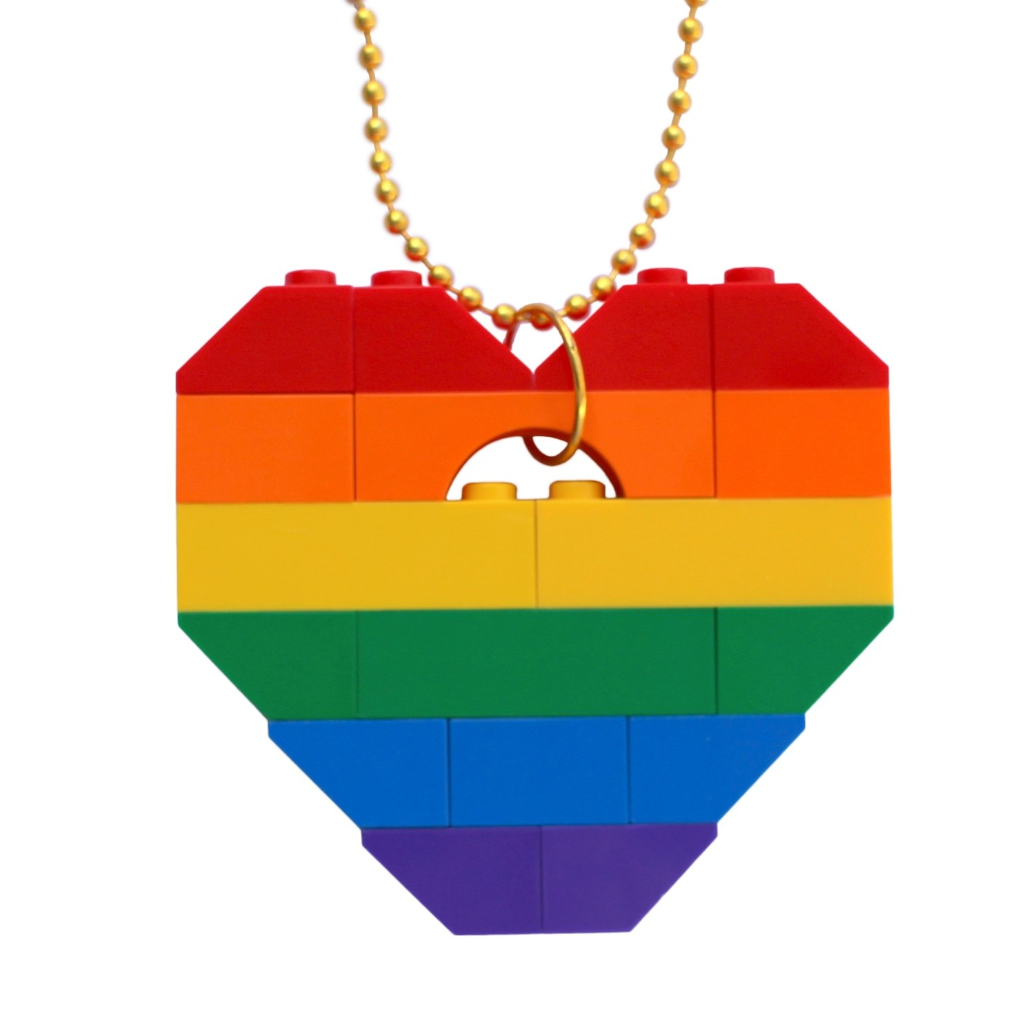 """Collectible heart pendant (Single thickness) Model 13 - made from LEGO® bricks on a 24"""" Gold plated ballchain - RAINBOW"""