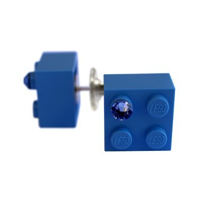 Light Blue LEGO® brick 2x2 with a Blue SWAROVSKI® crystal on a Silver plated stud/silicone back stopper
