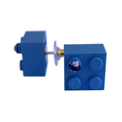 Light Blue LEGO® brick 2x2 with a Blue SWAROVSKI® crystal on a Gold plated stud/silicone back stopper