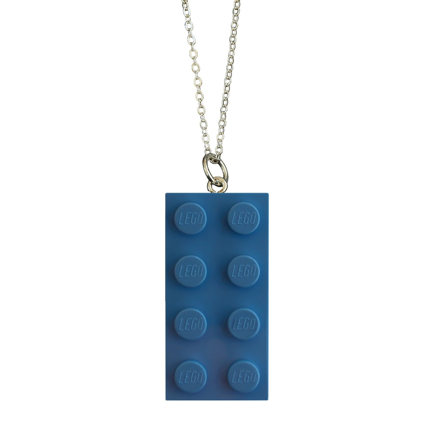 """Light Blue LEGO® brick 2x4 on a Silver plated trace chain (18"""" or 24"""")"""