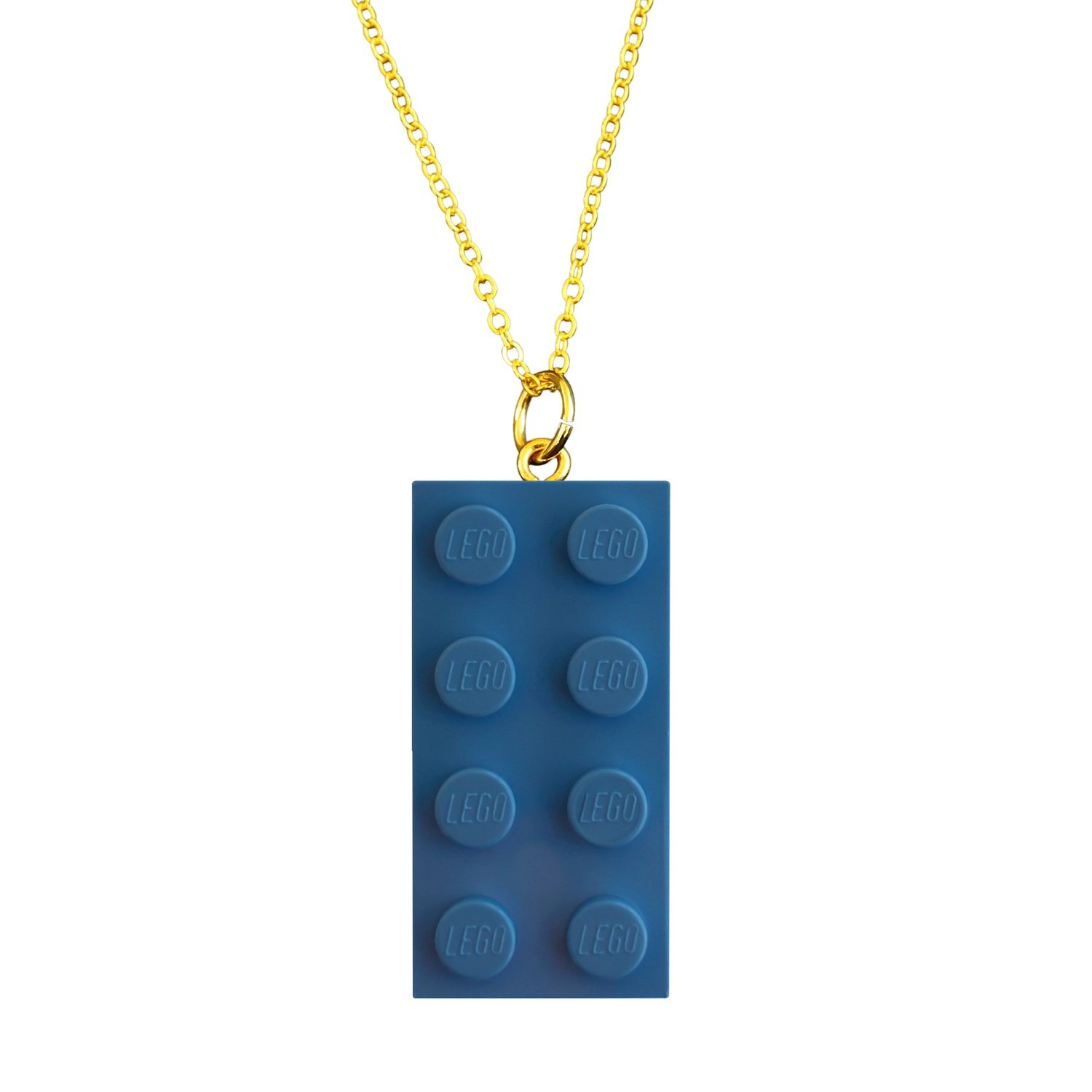 """Light Blue LEGO® brick 2x4 on a Gold plated trace chain (18"""" or 24"""")"""