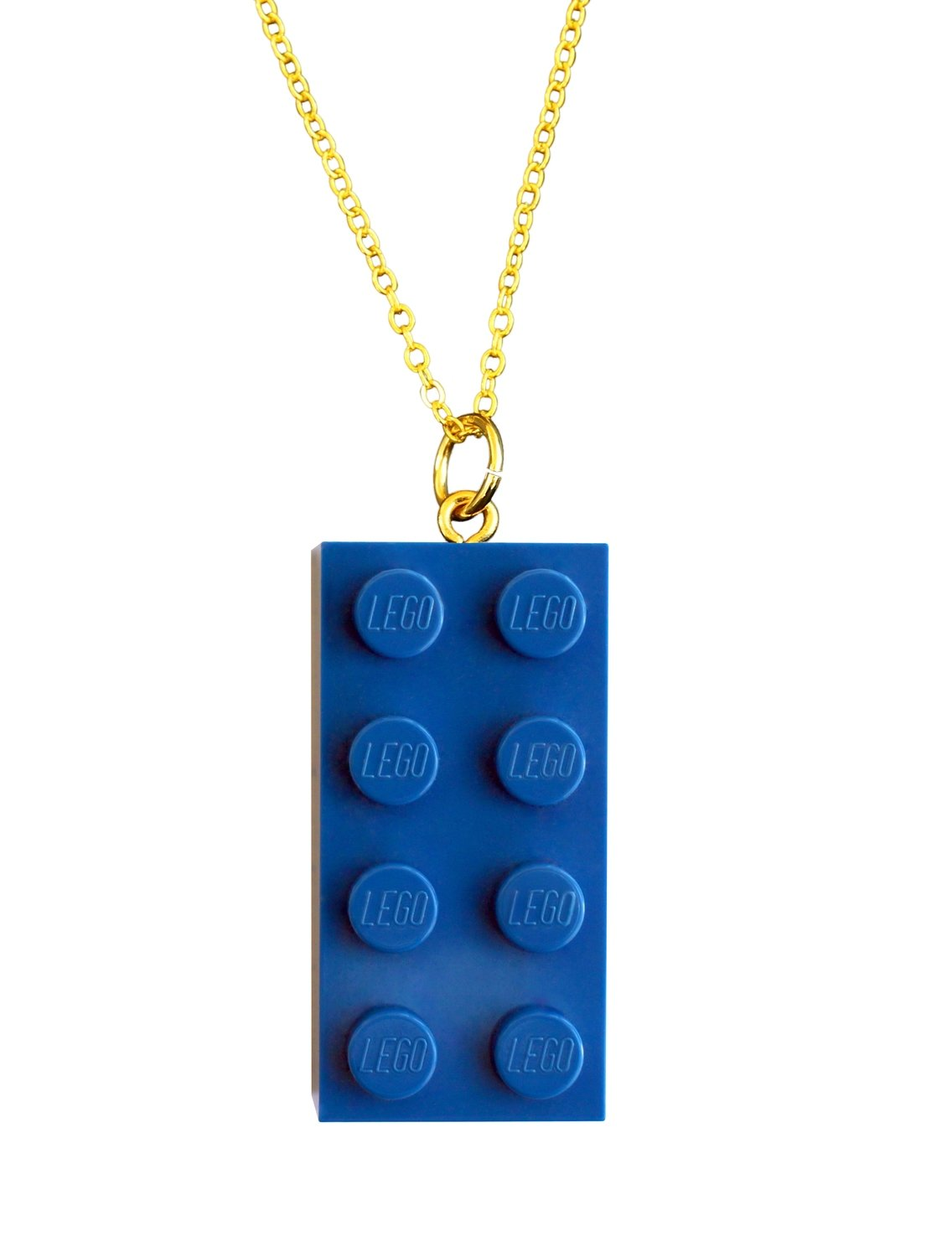 """Dark Blue LEGO® brick 2x4 on a Gold plated trace chain (18"""" or 24"""")"""
