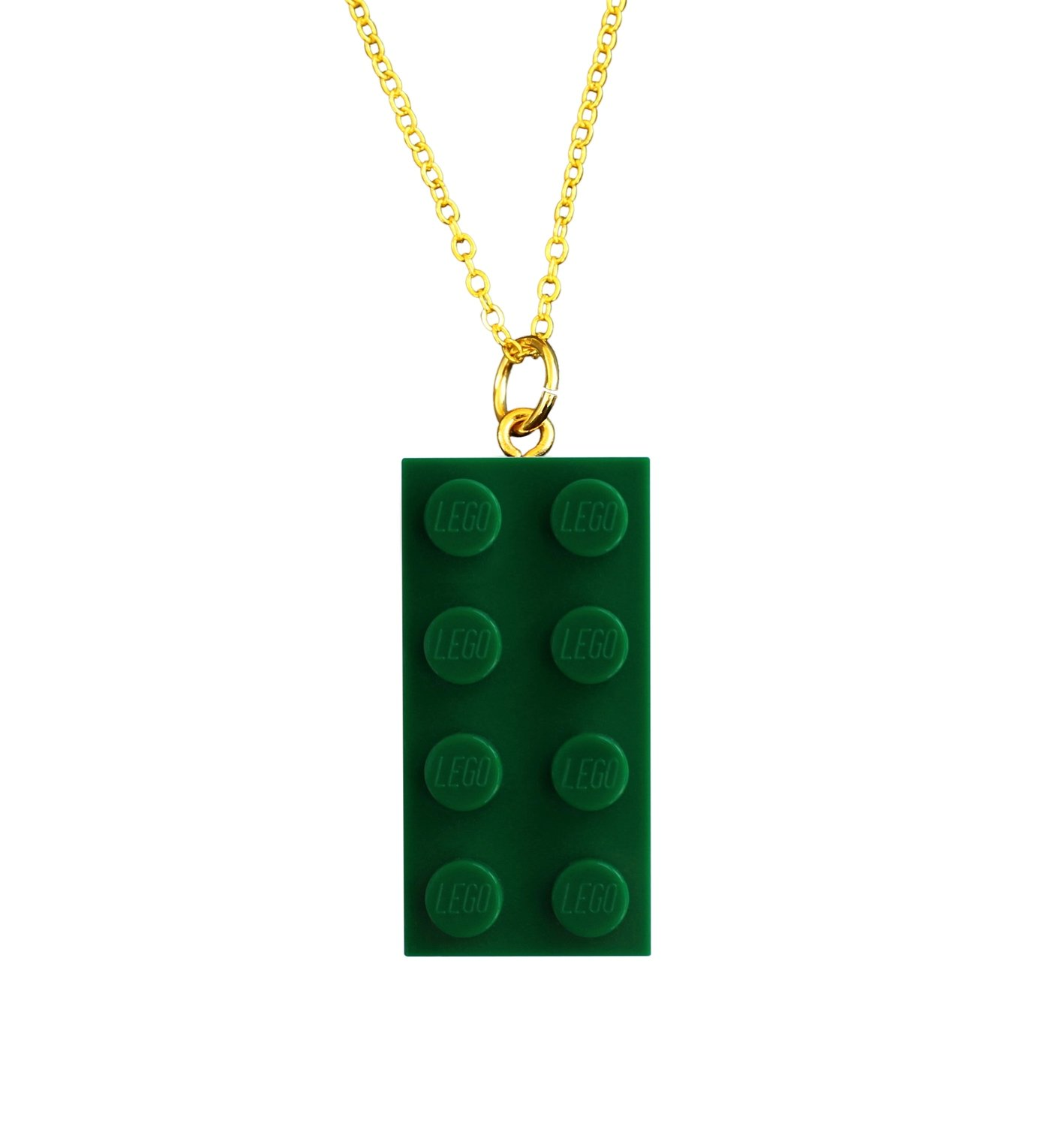 "​Dark Green LEGO® brick 2x4 on a Gold plated trace chain (18"" or 24"")​"