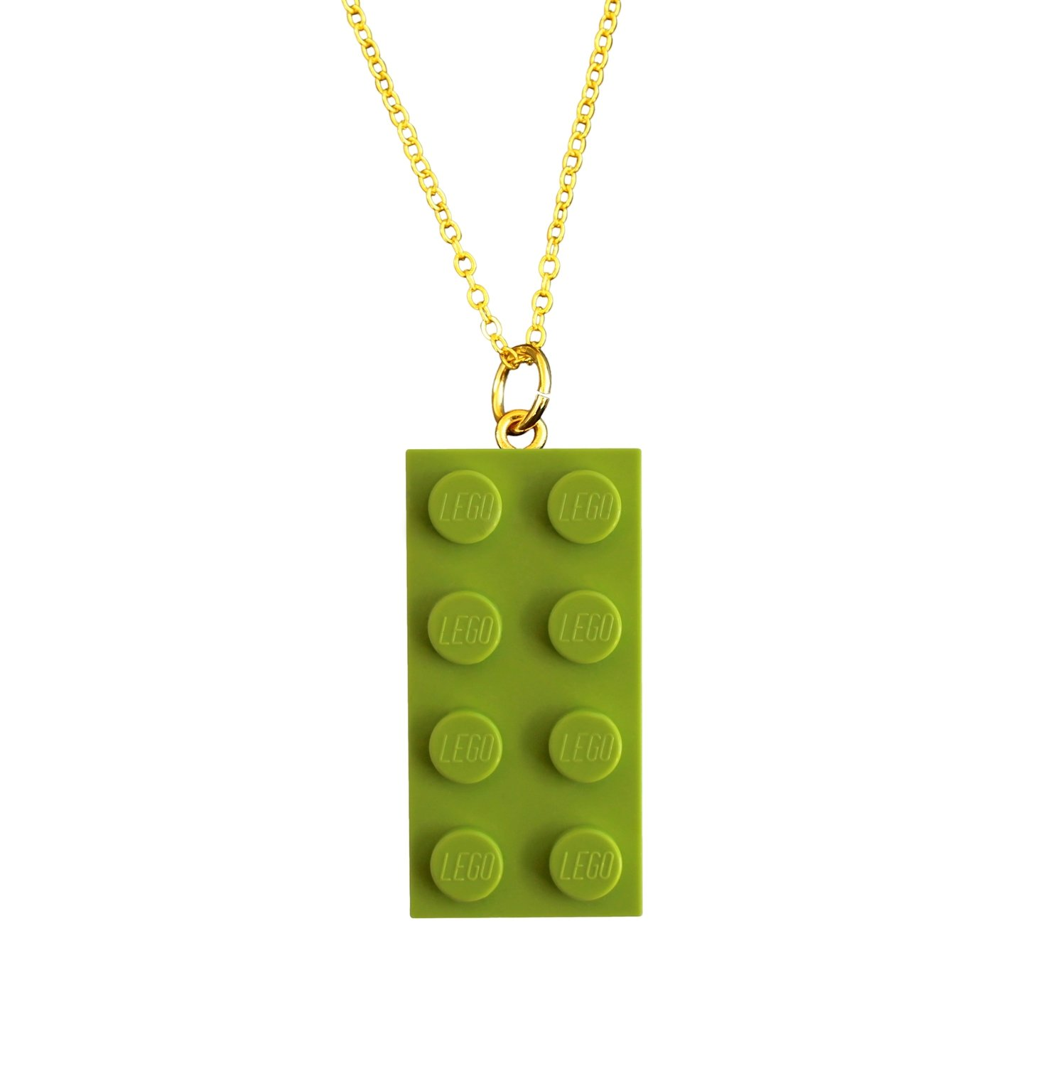 "​Light Green LEGO® brick 2x4 on a Gold plated trace chain (18"" or 24"")"