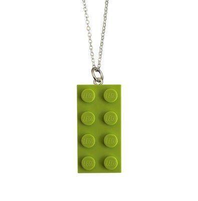 Light Green LEGO® brick 2x4 on a Silver plated trace chain (18