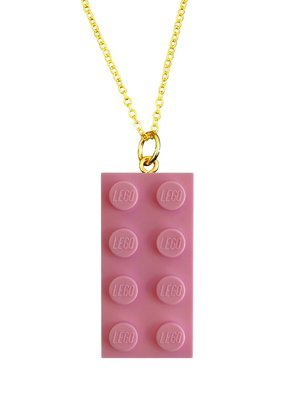 Light Pink LEGO® brick 2x4 on a Gold plated trace chain (18