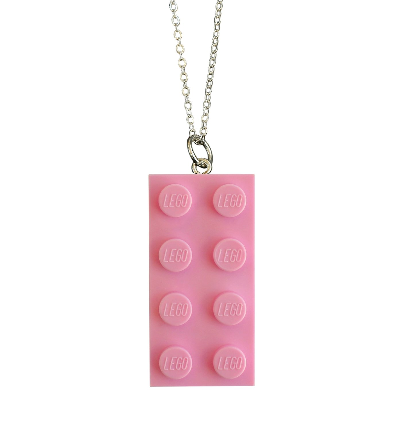 "Light Pink LEGO® brick 2x4 on a Silver plated trace chain (18"" or 24"")"