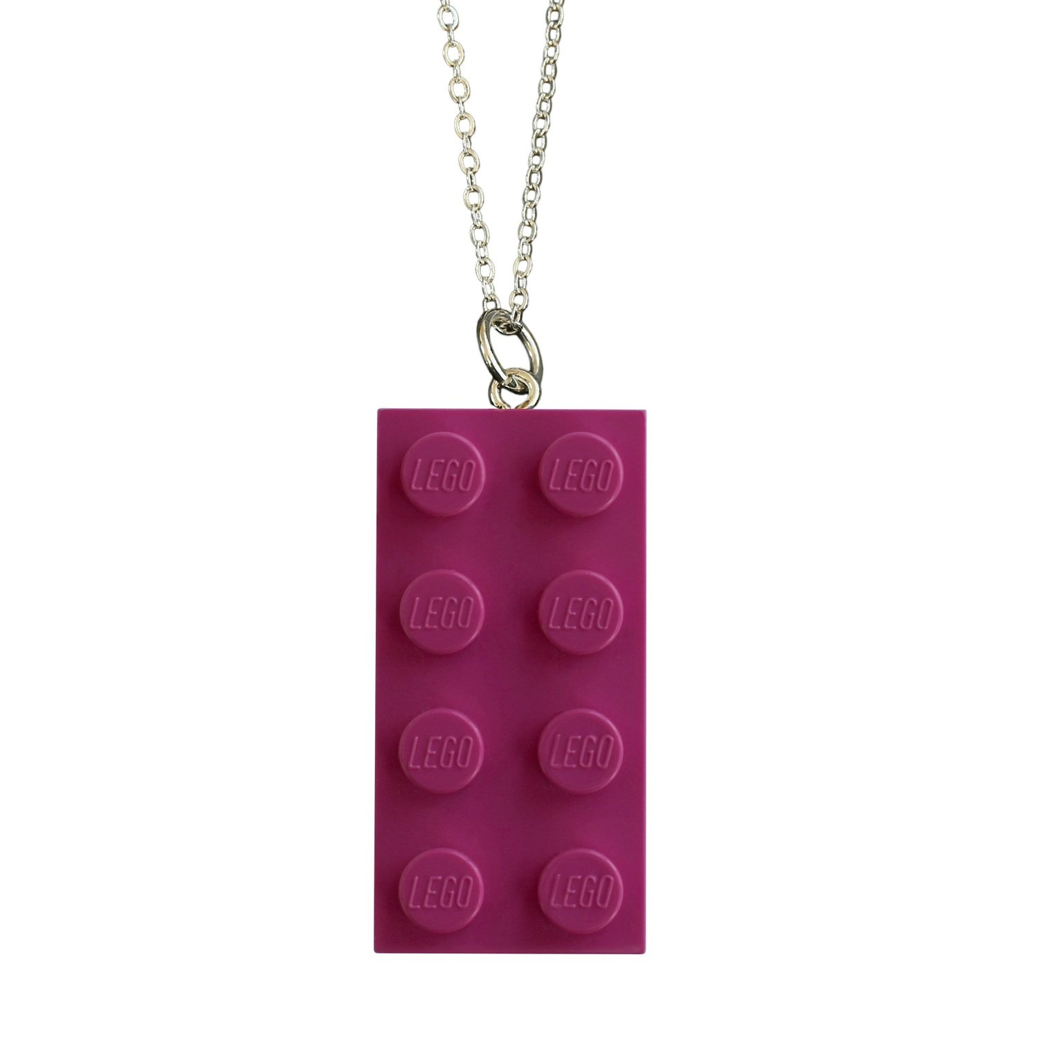 """Dark Pink LEGO® brick 2x4 on a Silver plated trace chain (18"""" or 24"""")"""