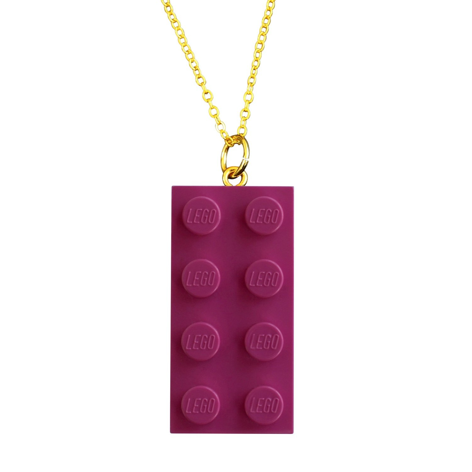 """Dark Pink LEGO® brick 2x4 on a Gold plated trace chain (18"""" or 24"""")"""