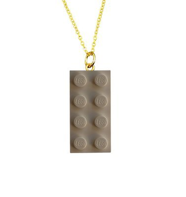 ​White LEGO® brick 2x4 on a Gold plated trace chain (18