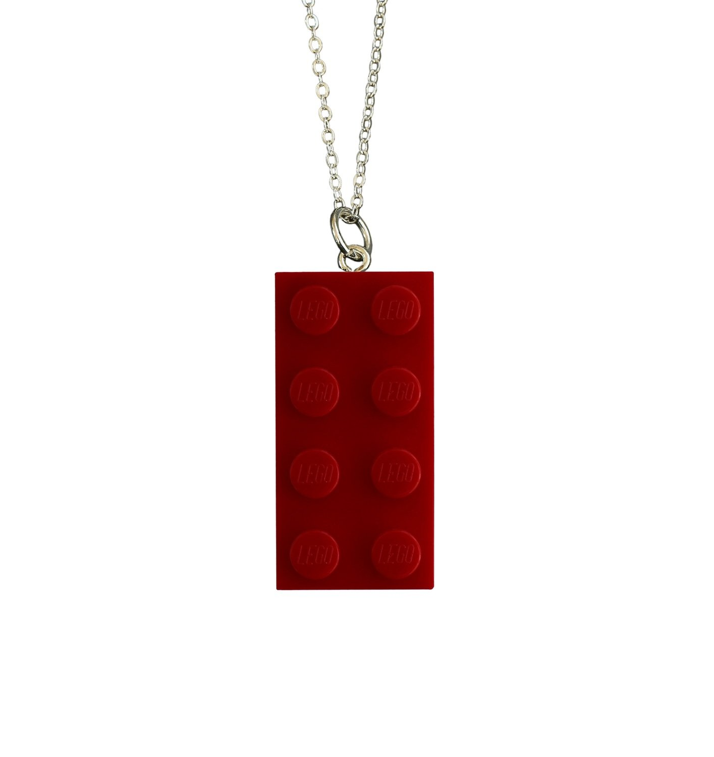 "Red LEGO® brick 2x4 on a Silver plated trace chain (18"" or 24"")"