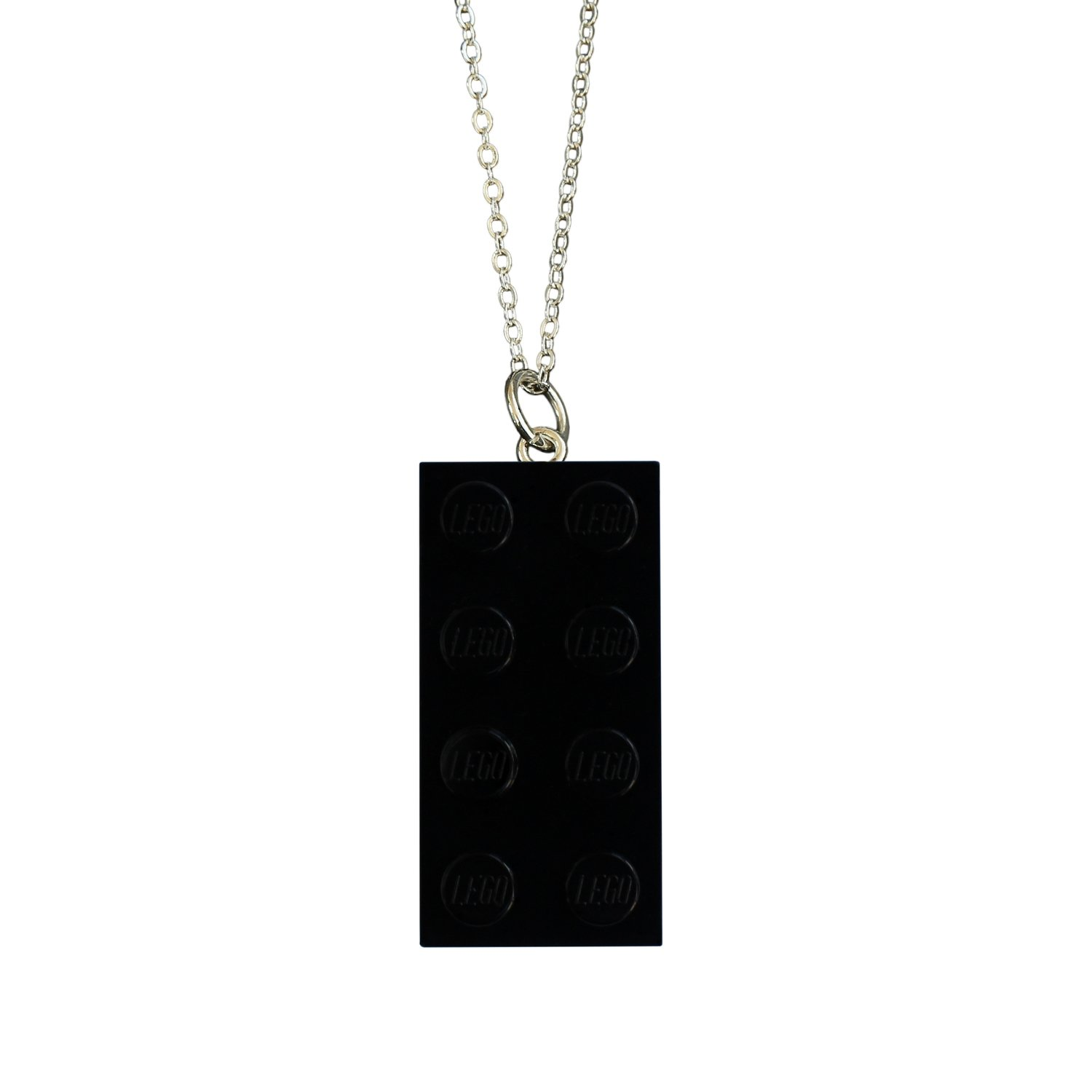 "Black LEGO® brick 2x4 on a Silver plated trace chain (18"" or 24"")"