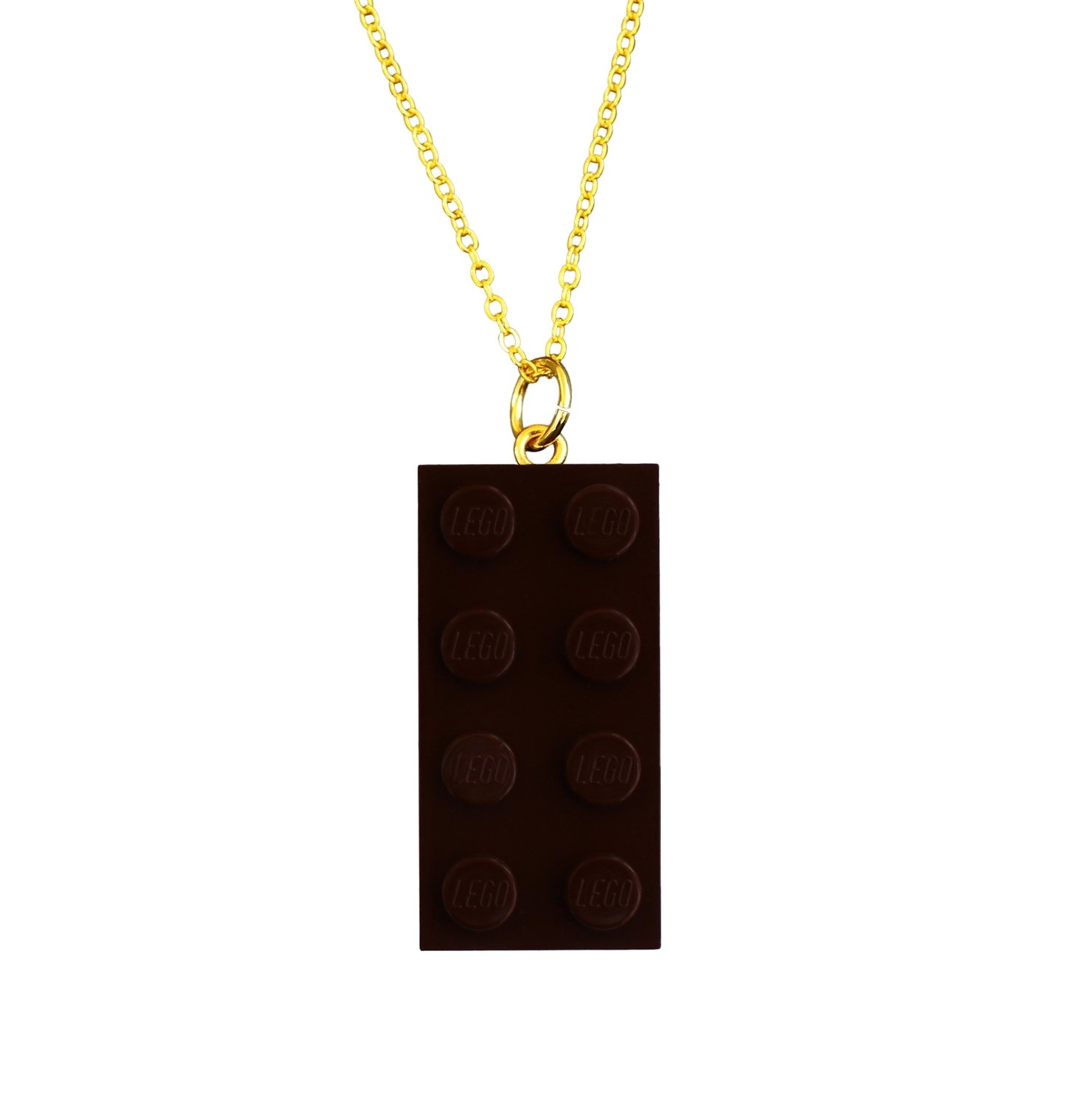 """Brown LEGO® brick 2x4 on a Gold plated trace chain (18"""" or 24"""")"""