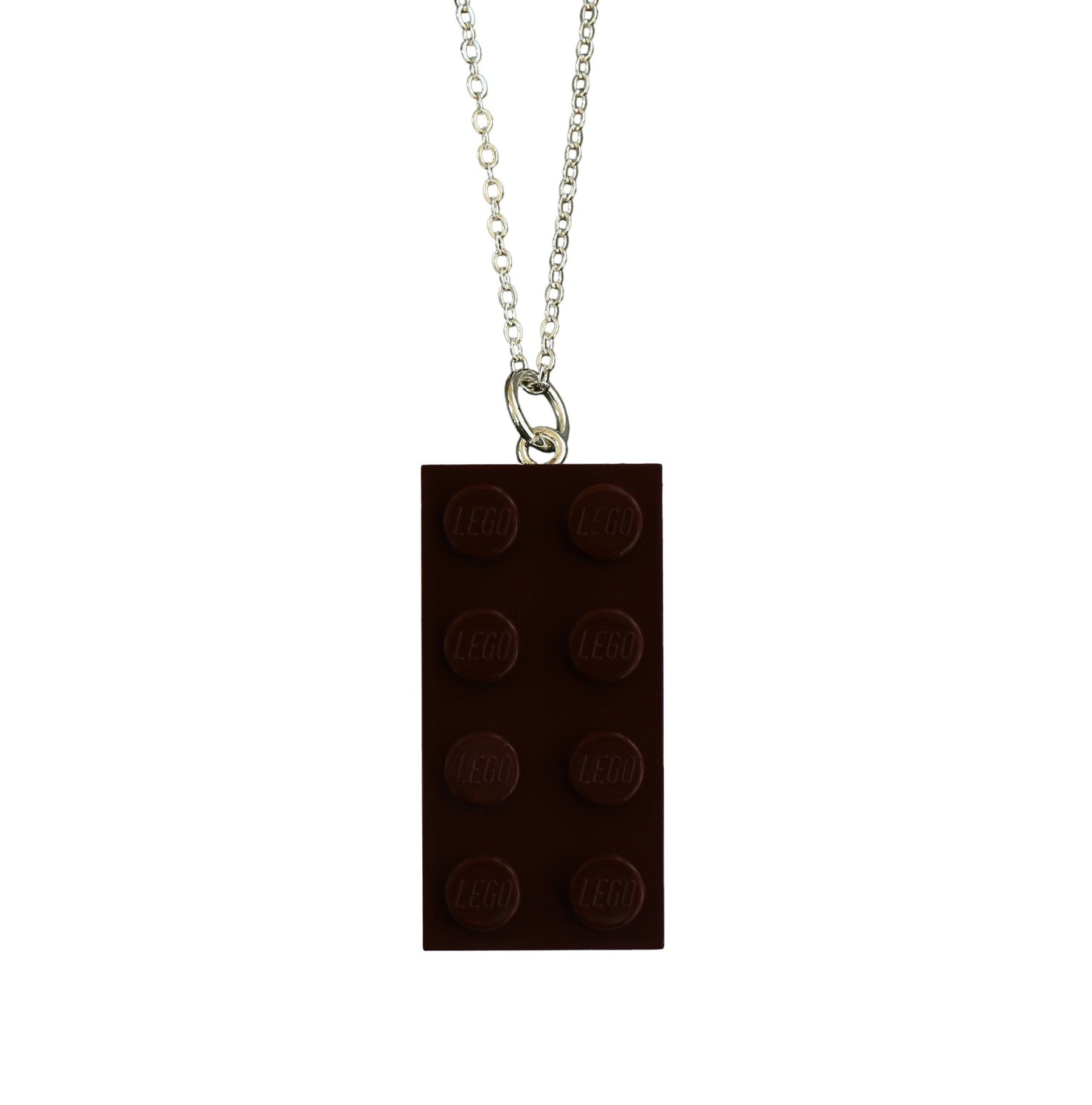"""Brown LEGO® brick 2x4 on a Silver plated trace chain (18"""" or 24"""")"""