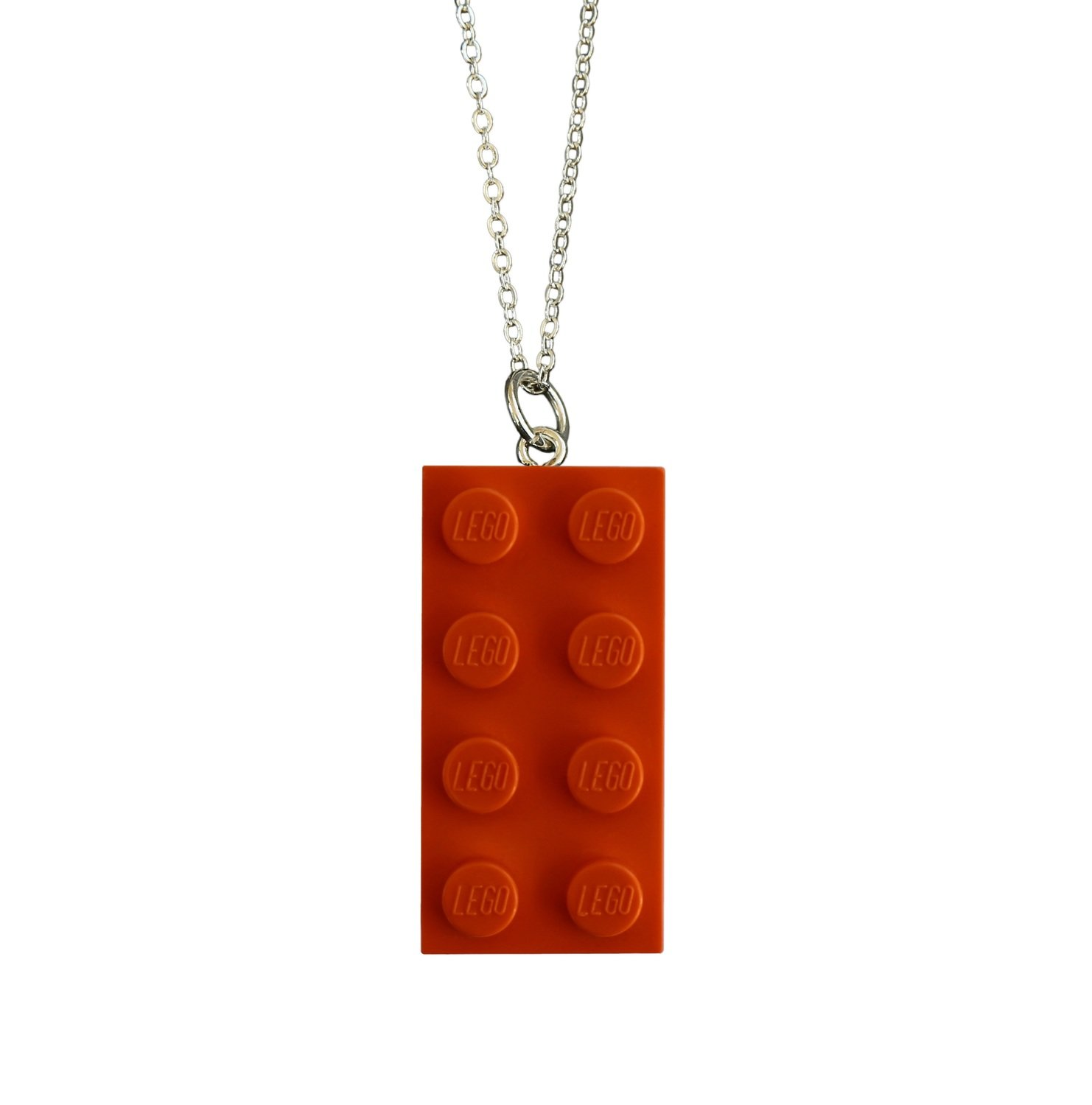 """Orange LEGO® brick 2x4 on a Silver plated trace chain (18"""" or 24"""")"""
