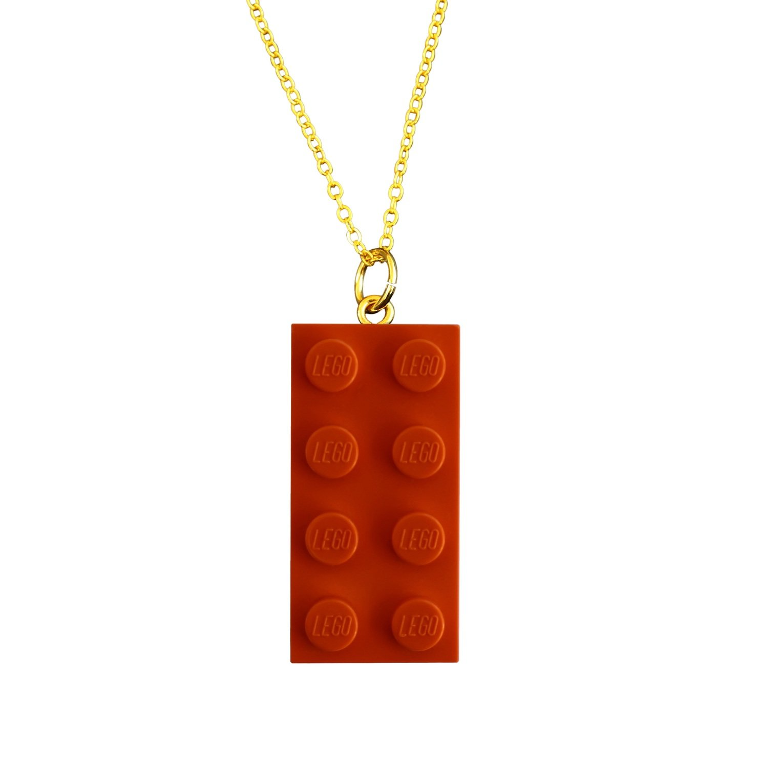 """Orange LEGO® brick 2x4 on a Gold plated trace chain (18"""" or 24"""")"""