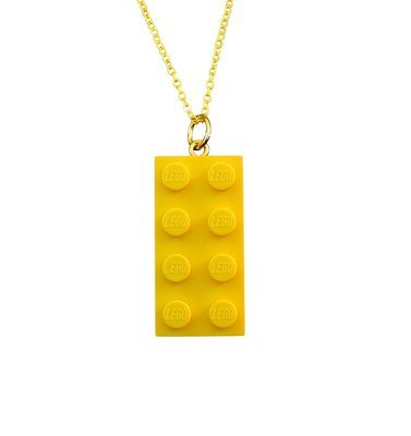 ​Yellow LEGO® brick 2x4 on a Gold plated trace chain (18