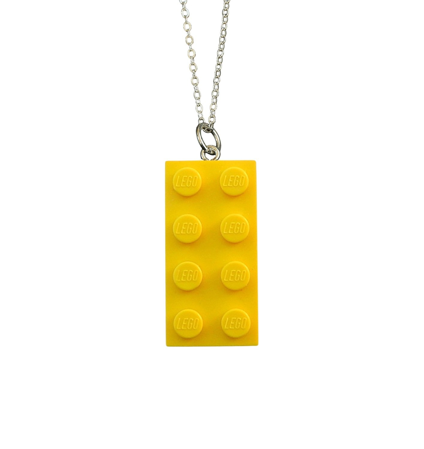 """Yellow LEGO® brick 2x4 on a Silver plated trace chain (18"""" or 24"""")"""