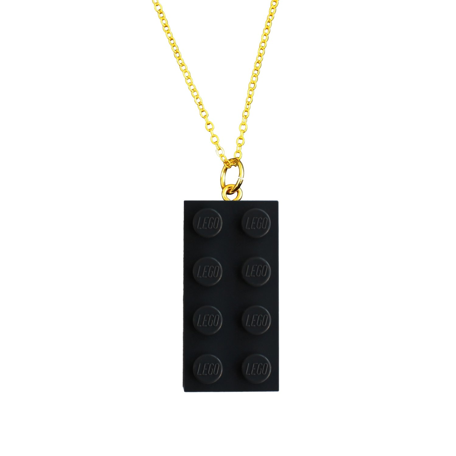 "Gray LEGO® brick 2x4 on a Gold plated trace chain (18"" or 24"")"