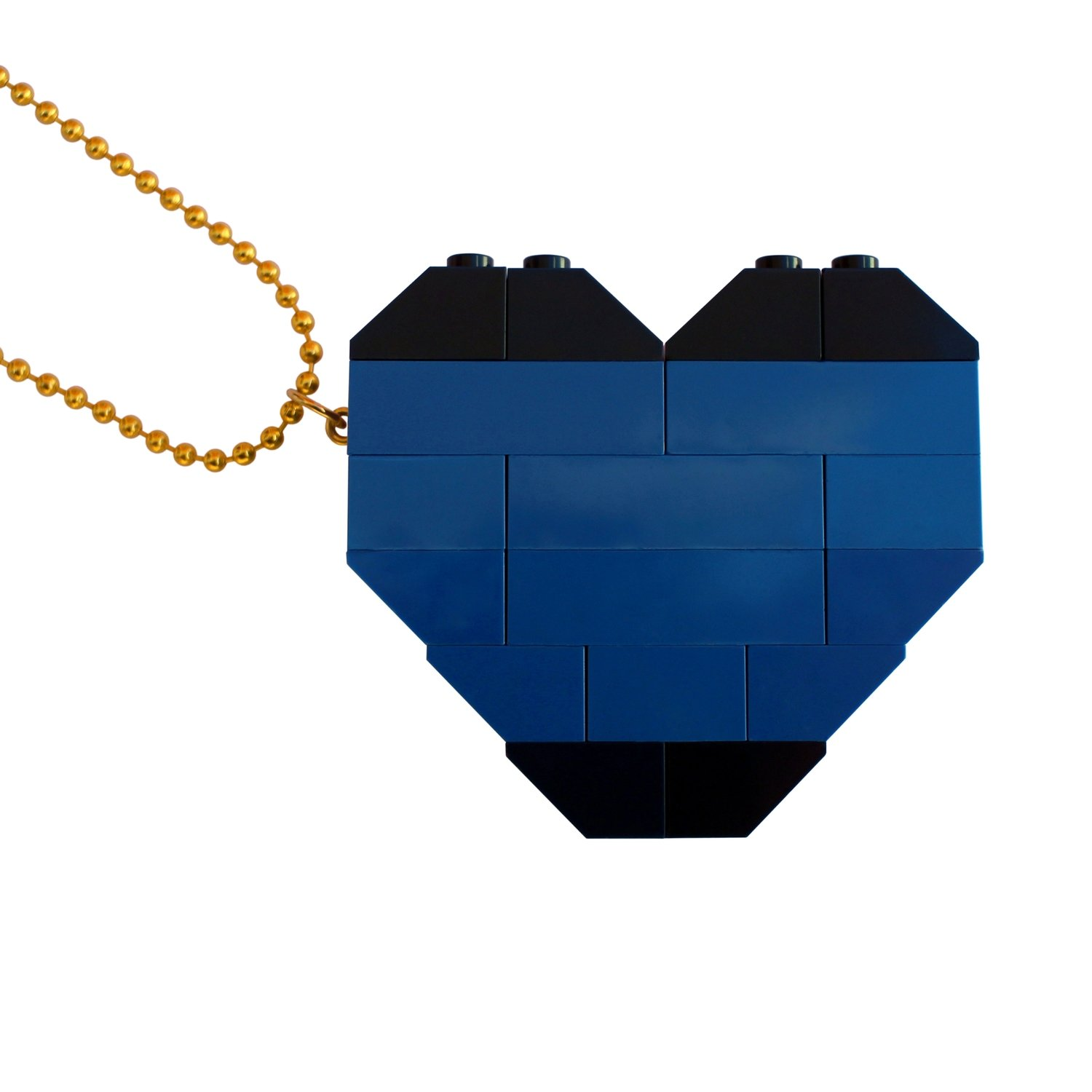 """Collectible heart pendant (Double thickness) Model 6 - made from LEGO® bricks on a 24"""" Gold plated ballchain - NAVY"""