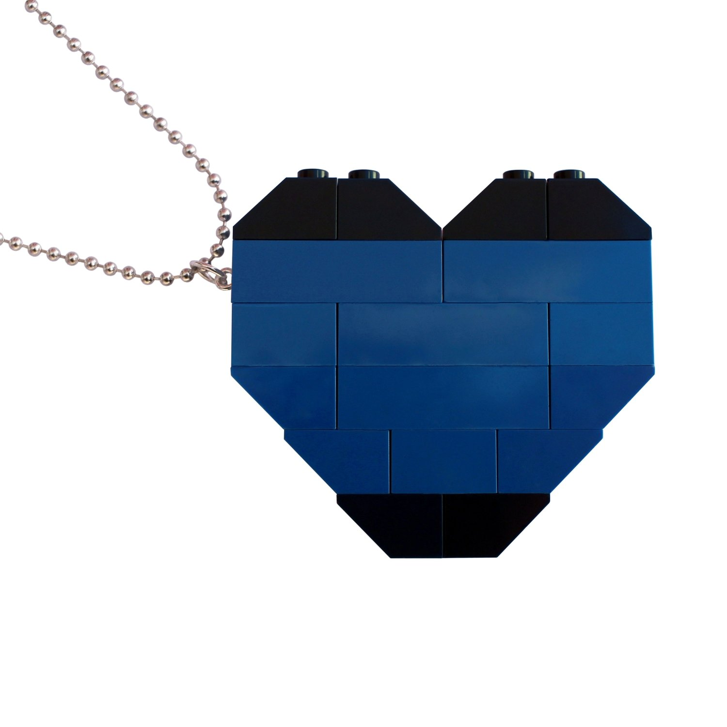 "​​Collectible heart pendant (Double thickness) Model 6 - made from LEGO® bricks on a 24"" Silver plated ballchain - NAVY"