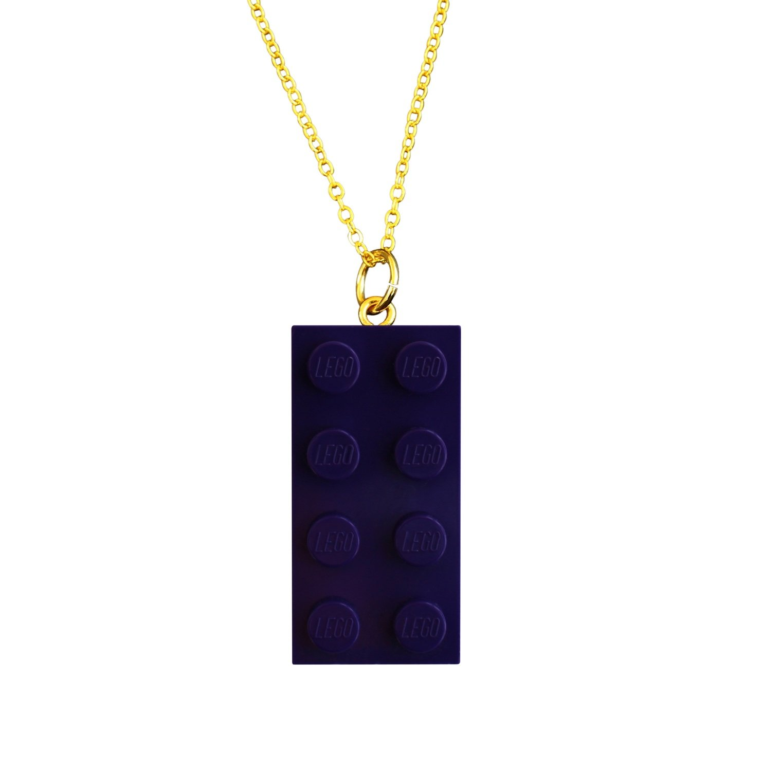 """Purple LEGO® brick 2x4 on a Gold plated trace chain (18"""" or 24"""")"""