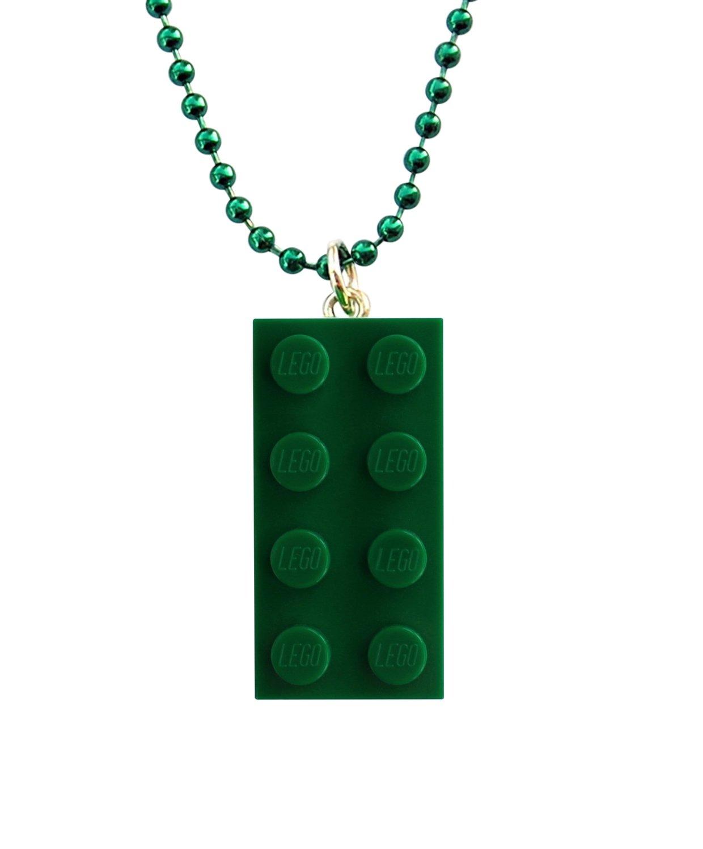 "Dark Green LEGO® brick 2x4 on a 24"" Green ballchain"