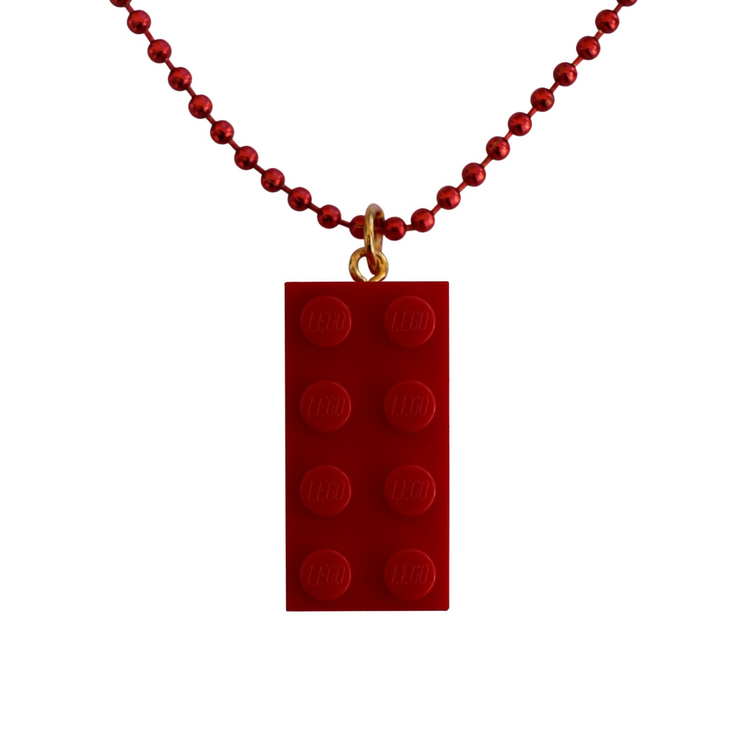 "​Red LEGO® brick 2x4 on a 24"" Red ballchain"