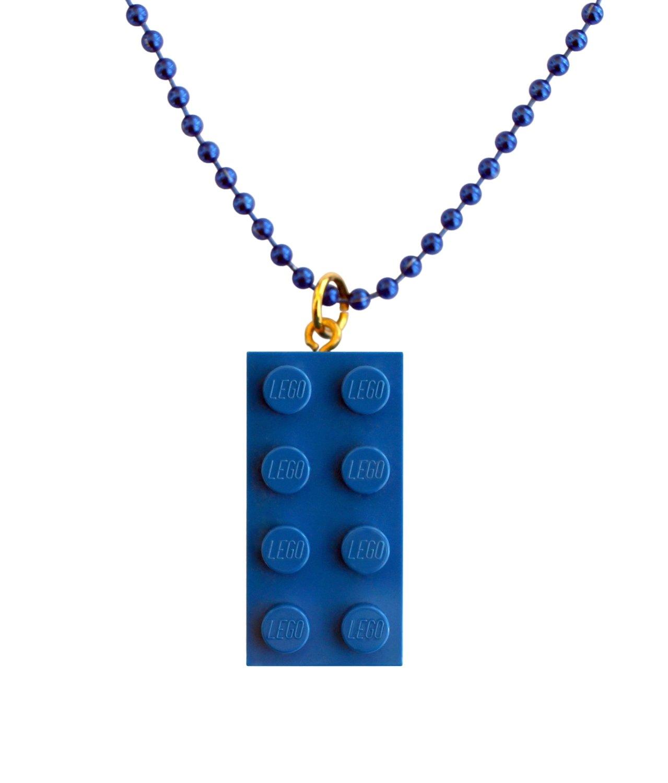 """Dark Blue LEGO® brick 2x4 on a 24"""" Blue ballchain"""