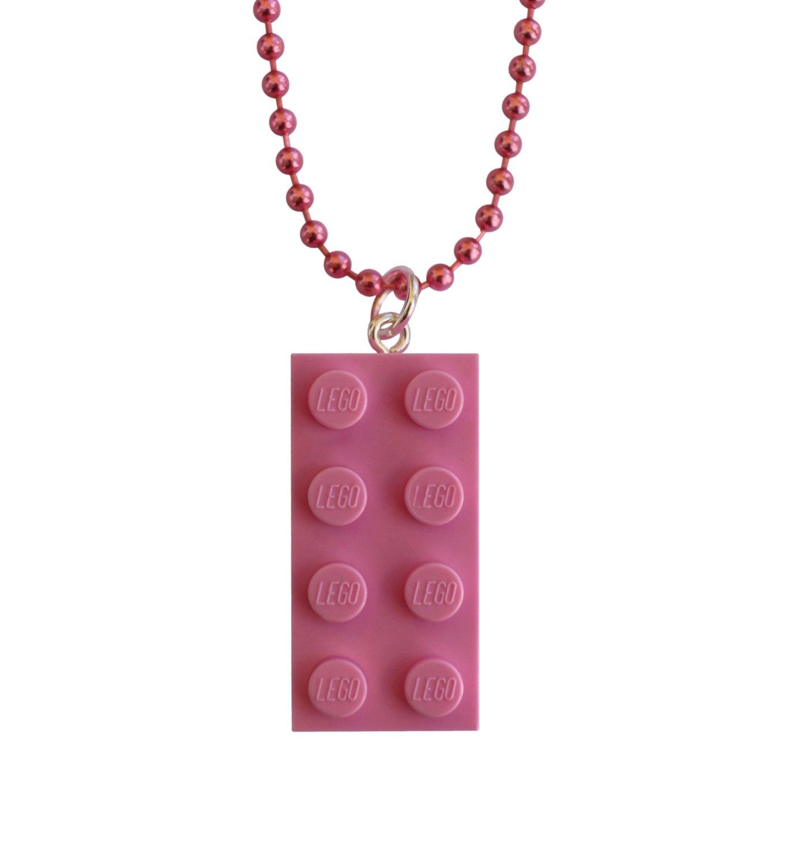 "Light Pink LEGO® brick 2x4 on a 24"" Pink ballchain"