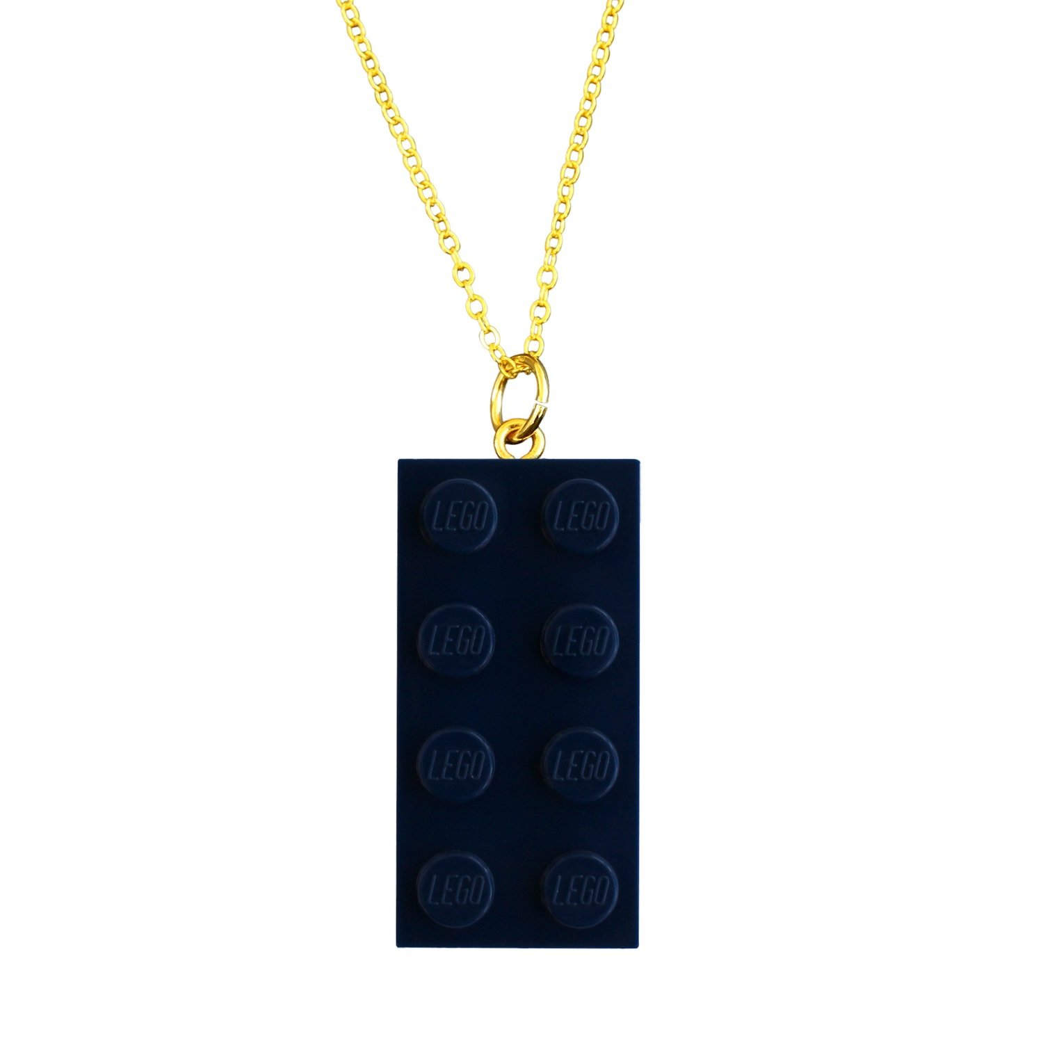 """Navy Blue LEGO® brick 2x4 on a Gold plated trace chain (18"""" or 24"""")"""