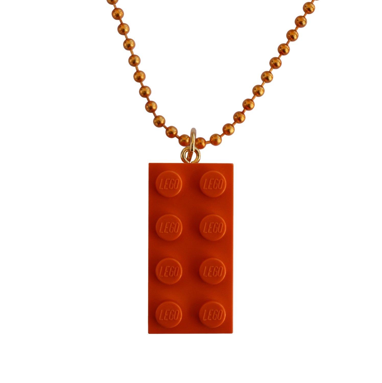 "Orange LEGO® brick 2x4 on a 24"" Orange ballchain"