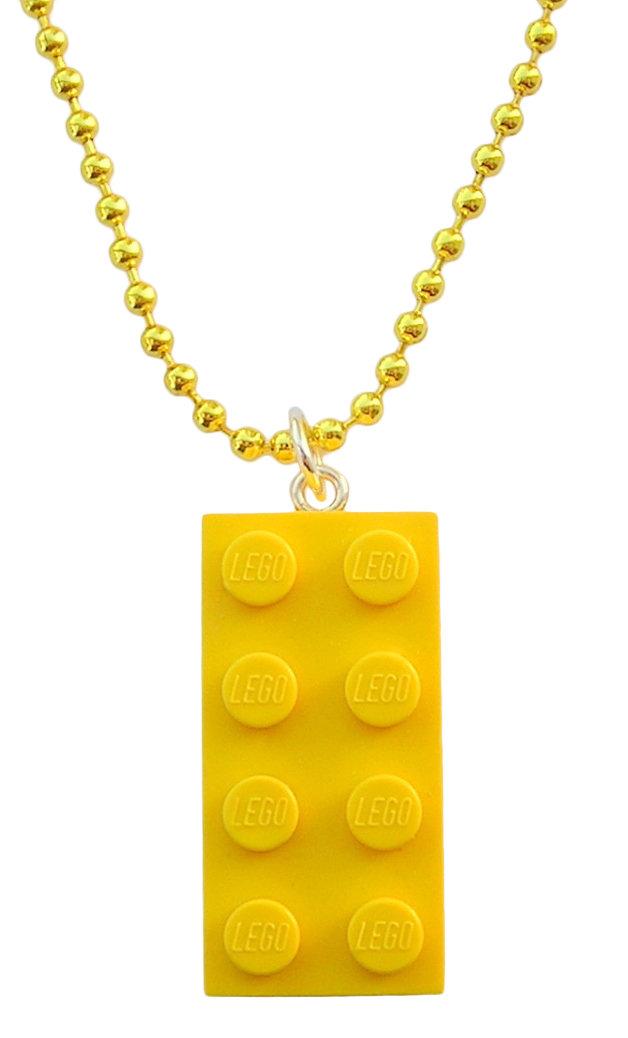 """Yellow LEGO® brick 2x4 on a 24"""" Yellow ballchain"""
