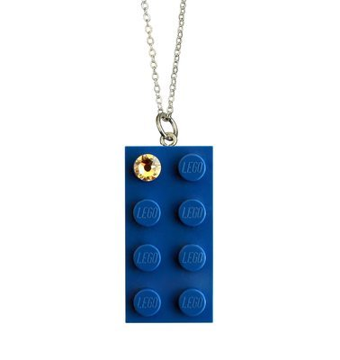 Dark Blue LEGO® brick 2x4 with a 'Diamond' color SWAROVSKI® crystal on a Silver plated trace chain (18