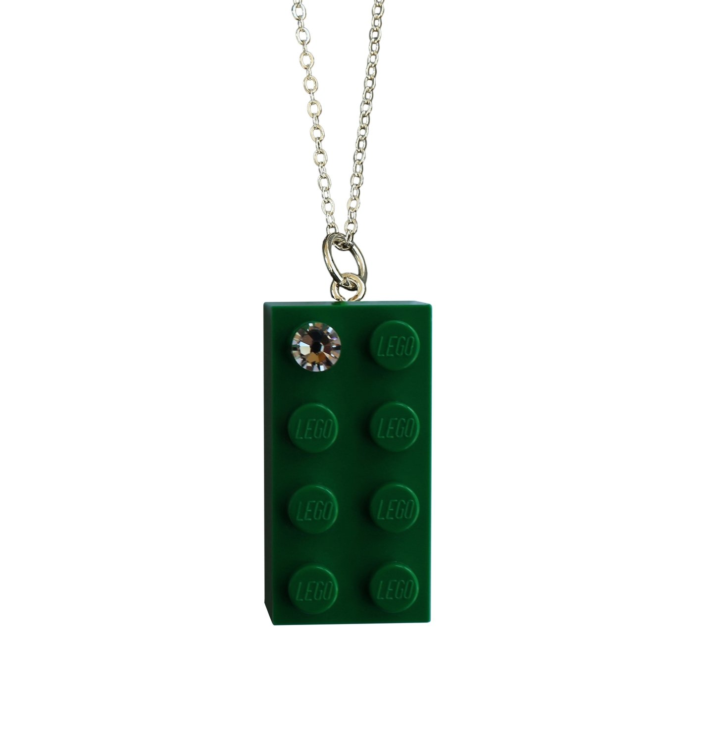 """Dark Green LEGO® brick 2x4 with a 'Diamond' color SWAROVSKI® crystal on a Silver plated trace chain (18"""" or 24"""")"""