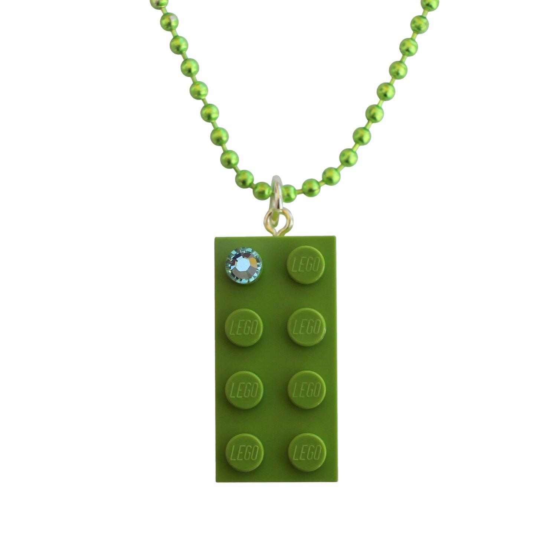 "Light Green LEGO® brick 2x4 with a Green SWAROVSKI® crystal  on a 24"" Green ballchain"