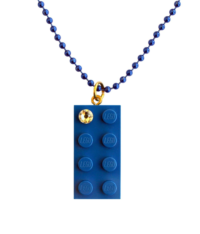 "Dark Blue LEGO® brick 2x4 with a 'Diamond' color SWAROVSKI® crystal on a 24"" Blue ballchain"