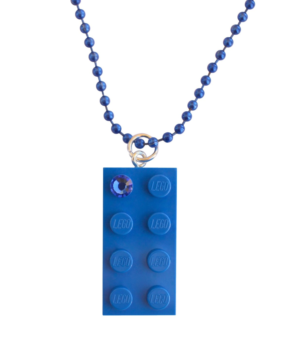"​Dark Blue LEGO® brick 2x4 with a Blue SWAROVSKI® crystal on a 24"" Blue ballchain"